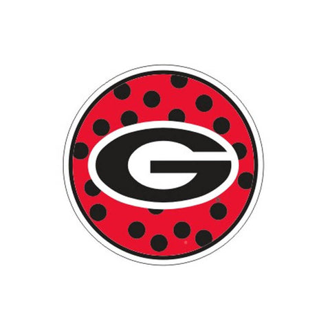 "Georgia Bulldogs 4"" UGA Round Polka Dot Decal Sticker"