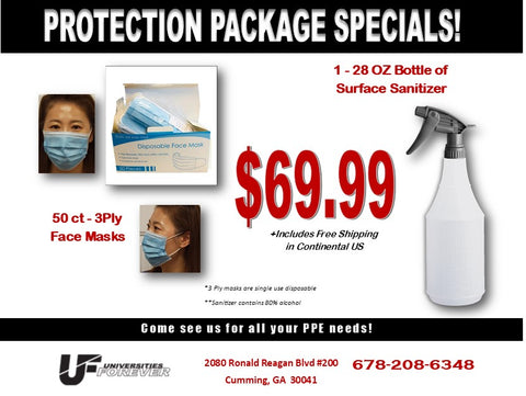 FREE SHIPPING - Personal Protection Package with 50 ct 3 ply masks