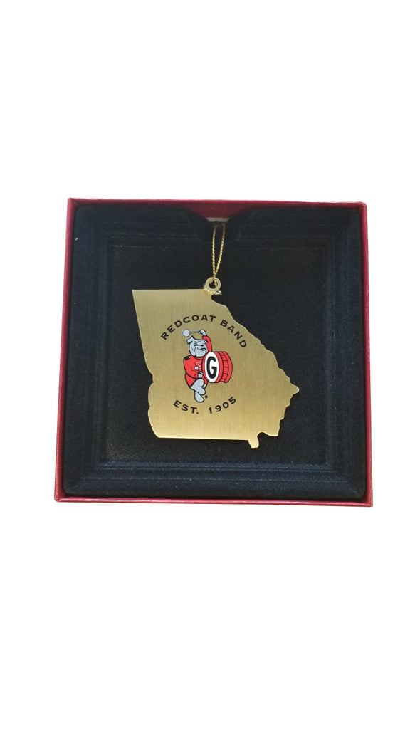 Redcoat Band Georgia State Outline Holiday Christmas Ornament