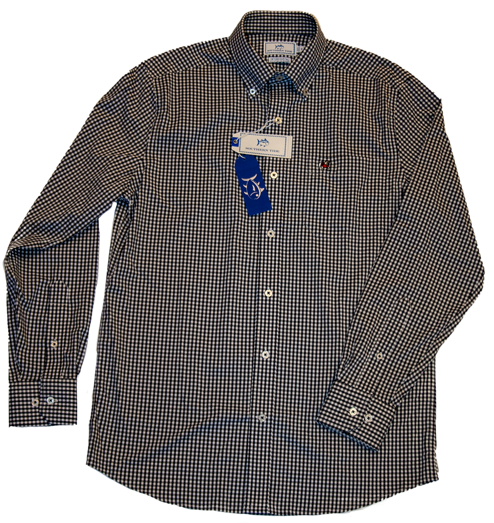 UGA Southern Tide Inter-Coastal Collection Black Chex Button down