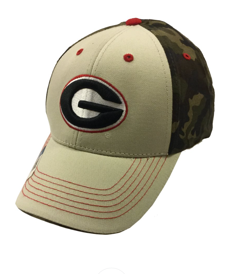 Georgia Bulldogs UGA Tan and Camo Super G Logo Adjustable Baseball Hat
