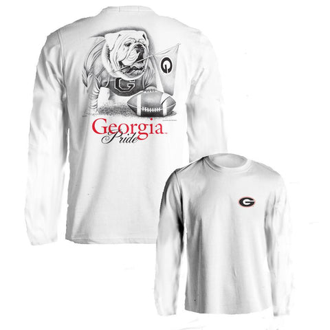 Georgia Bulldogs UGA Pride White Long Sleeve Adult T-Shirt