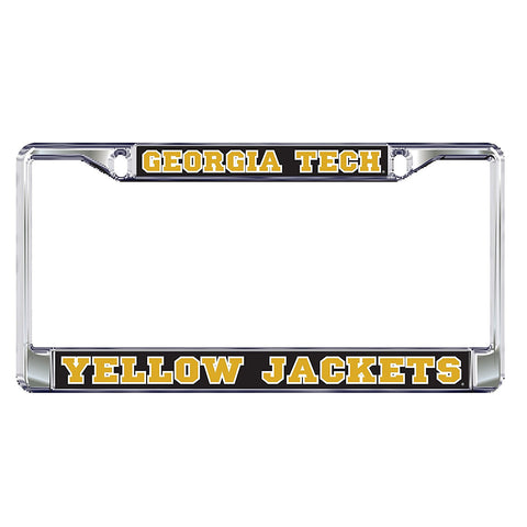 Georgia Tech Yellow Jackets Domed Metal Silver License Plate Tag Frame