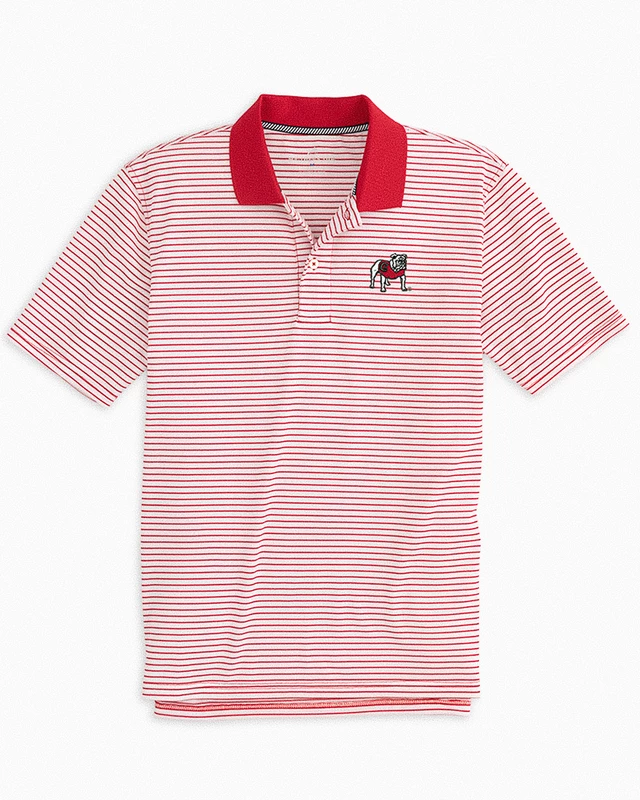 UGA Men's Southern Tide Red/White Stripe Polo