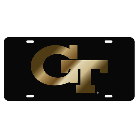 Georgia Tech Yellow Jackets GT Laser Cut Inlaid Black-Gold License Plate