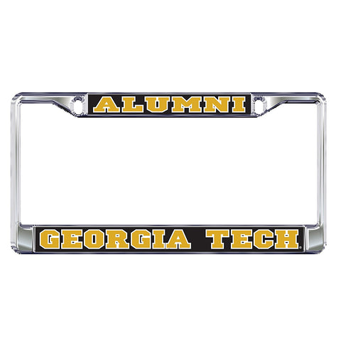 Georgia Tech Yellow Jackets Alumni Domed Metal Silver License Plate Tag Frame