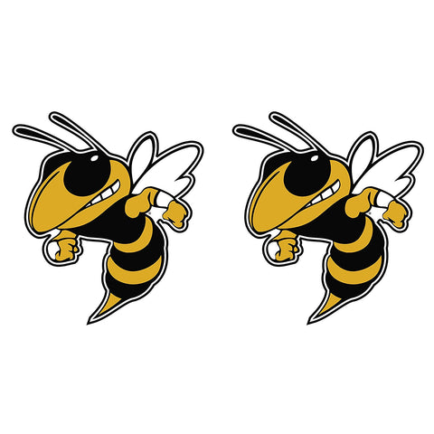 "Georgia Tech Yellow Jackets GT Buzz Logo Decal Sticker 2"" 2 Pack"