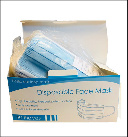 FREE SHIPPING - 3 ply face masks- 50 ct box