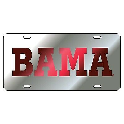 Alabama Laser Silver/ Crimson BAMA Mirrored License Plate