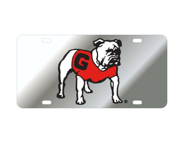 Georgia Bulldogs Standing Bulldog Silver Mirrored License Plate