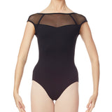 Intermezzo Mesh Cap Sleeve Low Back Leotard