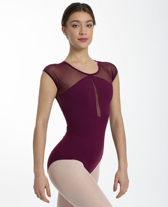 Intermezzo Mesh Cap Sleeve Cut-Out Leotard