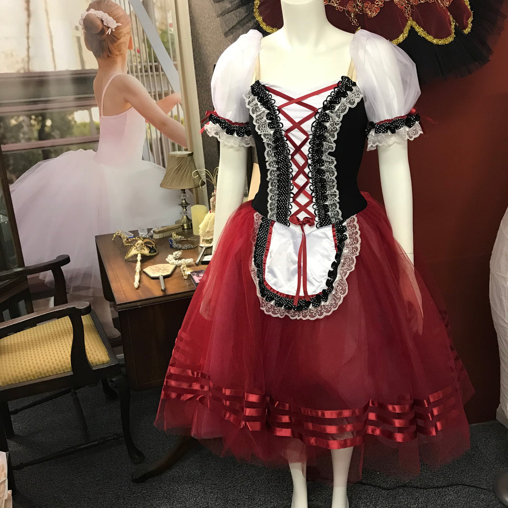 Just Ballet Burgundy peasant dress - hire only