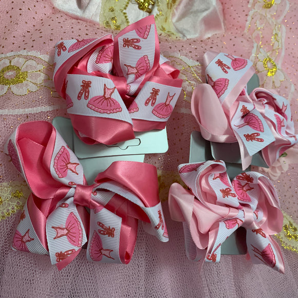 Pink ballerina hair bow