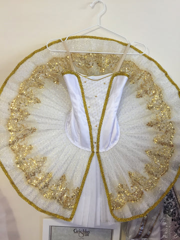 Just Ballet White and Gold tutu - Hire only