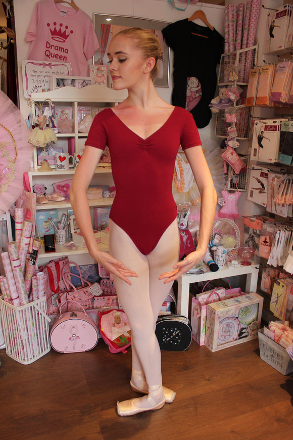 Just Ballet Classic short sleeve burgundy leotard