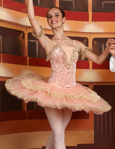 Harmony Peach and gold tutu - Just Ballet