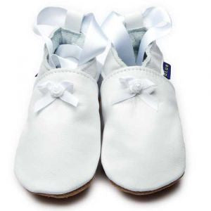 White baby ballet shoes by Inch Blue - Just Ballet