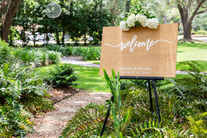 Wedding / Event Welcome Sign - Stained Wood
