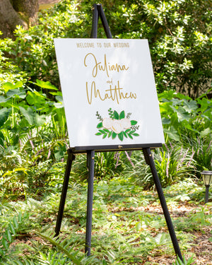 Wedding / Event Welcome Sign - Wood & Wood Cutout