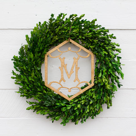 Boxwood Wreath & Single Initial