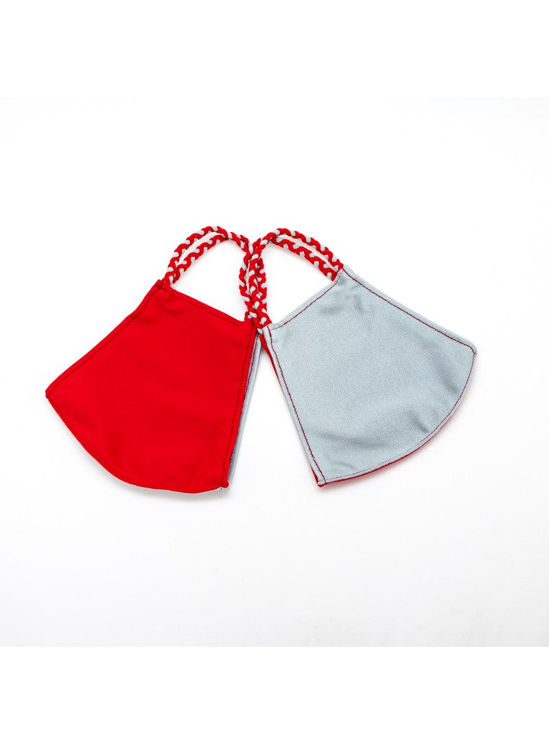 BATHING SUIT MASK | Red + Silver