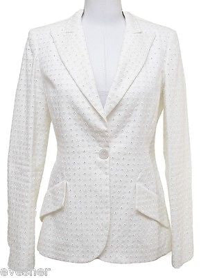 Valentino White Blazer Jacket Eyelet Cotton Viscose Long Sleeve Lined Sz 4 PEEK! - Evesherfashion