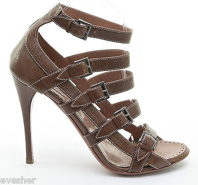 84bbee243df ... Alaia Brown Leather Gladiator Sandal Shoe Heel Open Toe White Buckle  Strap 39.5 - Evesherfashion ...