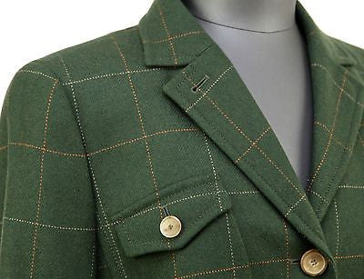 Akris Punto Blazer Jacket Green Wool Single Breasted Plaid Lined 42 10 - Evesherfashion