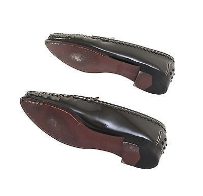 Tod's Olive Green Patent Leather Driver Penny Loafer Flat Shoe Heel 8 DoPEEK! - Evesherfashion