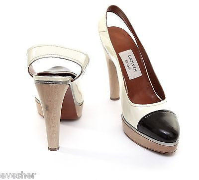 Lanvin Patent Leather Cream Brown Platform Pump Sandal Silver Slingback Wood 40 - Evesherfashion
