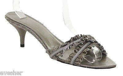 Bottega Veneta Sandal Slide Mule Silver Metallic Leather Open Toe Heel 38.5 - Evesherfashion