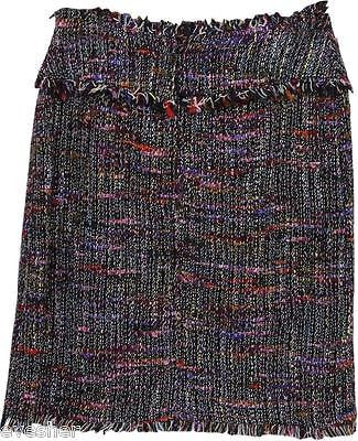 Chanel Tweed Skirt Suit Multicolor Black Boucle - Evesherfashion