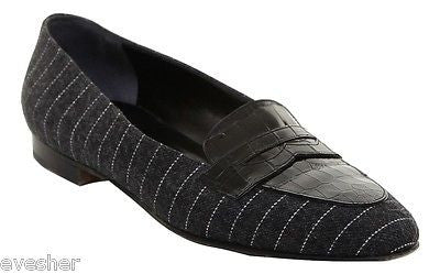 Suarez Charcoal Grey Pinstripe Fabric Black Leather Loafer Flat Shoe Heel 37 - Evesherfashion