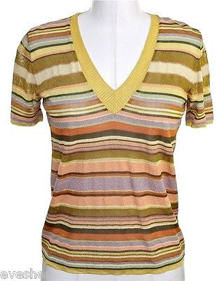 Missoni Orange Label V-Neck Striped Knit Sweater GOLD Top 40 DoPEEK! - Evesherfashion
