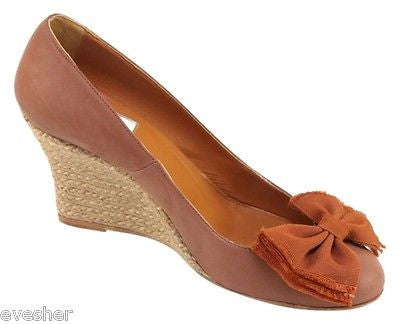 Lanvin Brown Nubuck Suede Leather Espadrille Wedge Pump Heel Shoe 39 GR8T Color! - Evesherfashion
