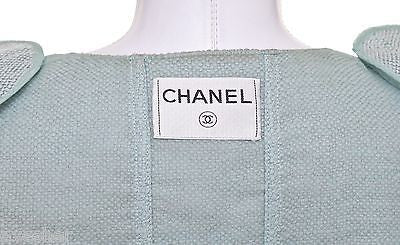 Chanel 2pc Jacket Blazer Skirt Suit Green Outfit Silver Vintage Coat - Evesherfashion
