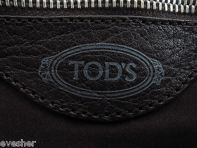 Tod's Suede Leather Dark Brown Shoulder Bag Baguette Purse Silver HW DoPEEK! - Evesherfashion