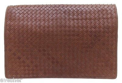 Bottega Veneta Briefcase Clutch Bag Brown Leather Intrecciato Portfolio VINTAGE - Evesherfashion