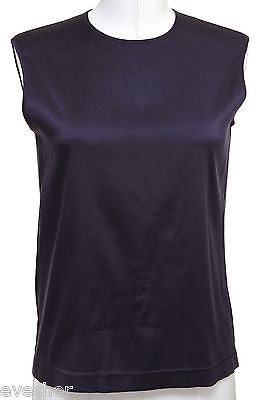 Chanel Purple Silk Blouse Dress Shirt Top Sleeveless Classic VINTAGE - Evesherfashion