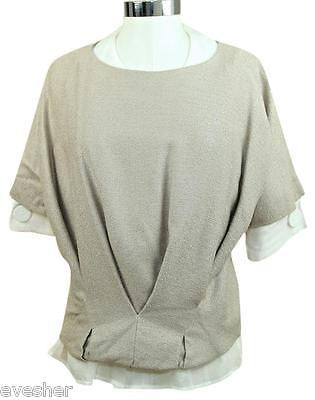 Chloe 06 Runway Silk Short Sleeve Grey Sweater Exposed Zipper Front Darting 34 - Evesherfashion