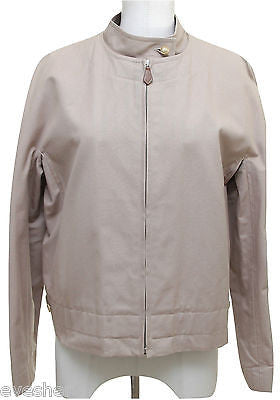 Hermes Cotton Jacket Khaki Beige Coat Leather Silver Zipper Vintage Sz 40 - Evesherfashion