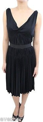 LOUIS VUITTON Black Wool Blend Sleeveless Dress Pleated Skirt Belt 40 $1.2K - Evesherfashion