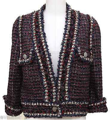 Chanel 13C Navy Red White Jacket Tweed Blazer Coat Classic Silver HW Top Sz 44 - Evesherfashion