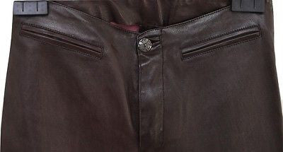 Chrome Hearts Brown Leather Sterling Silver Bootcut Pants Vintage Sz 2 - Evesherfashion