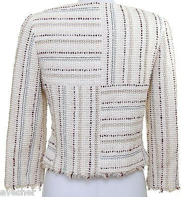Chanel Short Jacket Coat Ivory Multi-Color Zipper Round Neck Silver DoPEEK! - Evesherfashion