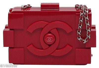 Chanel Brick Bag RED LEGO PLEXIGLASS Leather Clutch Silver HW Black Lining PEEK! - Evesherfashion
