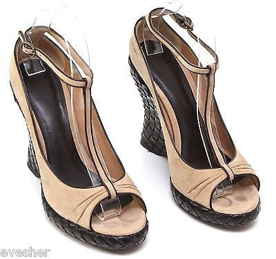 Bottega Veneta Platform Wedge Sandal Tan Suede Brown Leather Intrecciato 38.5 - Evesherfashion
