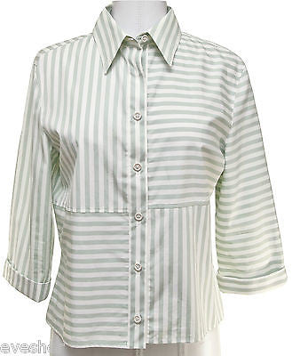 Chanel Identification 00C Blouse Top Shirt White Green 3/4 Sleeve Cotton Sz 38 - Evesherfashion