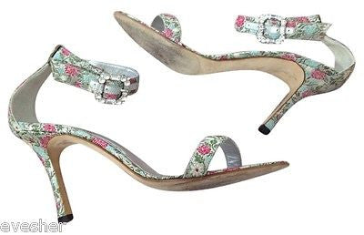 MANOLO BLAHNIK Leather BROCADE METALLIC CRYSTAL Open Toe Sandals Heels Sz 39.5 - Evesherfashion
